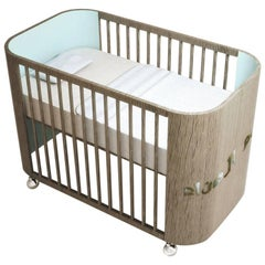Embrace Dreams Crib in French Grey Wood and Sky Blue by MISK Nursery