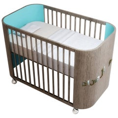 Embrace Dreams Crib in French Grey Wood and Turquoise by Misk Nursery