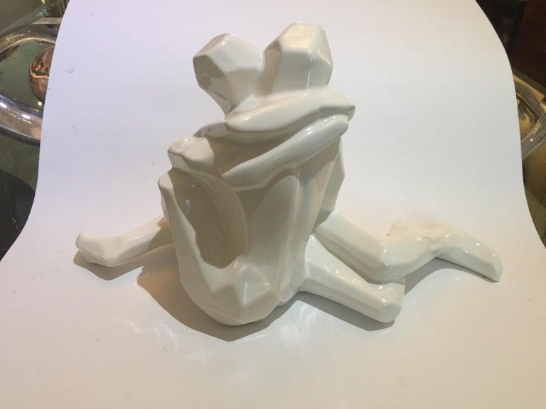 Mid-Century Modern Embrace Figure in White Glazed Ceramic by Jaru For Sale