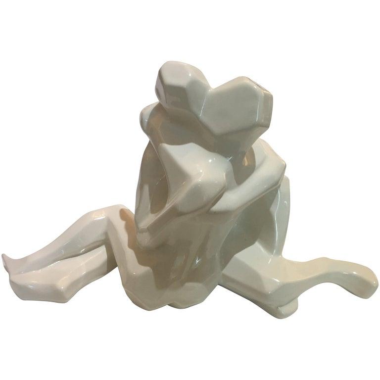 Embrace Figure in White Glazed Ceramic by Jaru For Sale