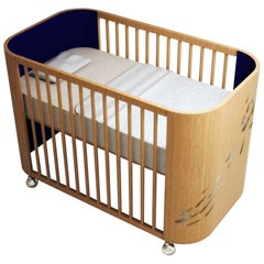 Embrace Luck Crib in Beech Wood and Navy Blue by Misk Nursery