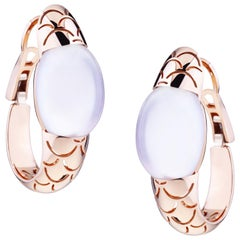 Embrace Rose Gold with Cabochon Mother Pearl Hoop Earrings