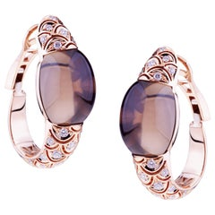 Embrace Rose Gold with Diamond and Cabochon Smoky Quarz Hoop Earrings