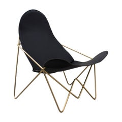 Embrione Armchair Bauhaus Modern Style in Steel and Leather Perfect for Lobby