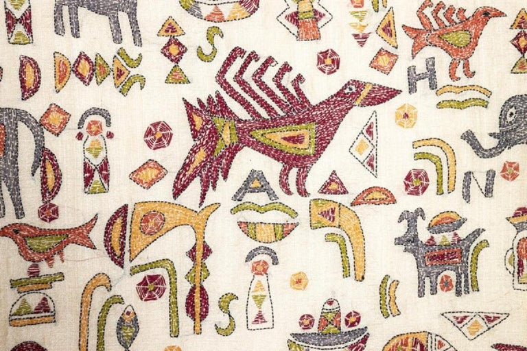 Vintage Mounted African Cloth with Embroidered Animals For Sale 4