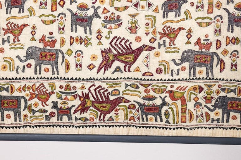 Unknown Vintage Mounted African Cloth with Embroidered Animals For Sale