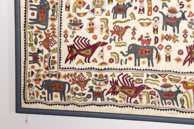 Vintage Mounted African Cloth with Embroidered Animals In Good Condition For Sale In South Salem, NY