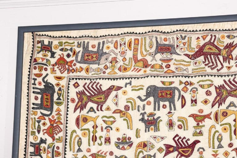 Fabric Vintage Mounted African Cloth with Embroidered Animals For Sale
