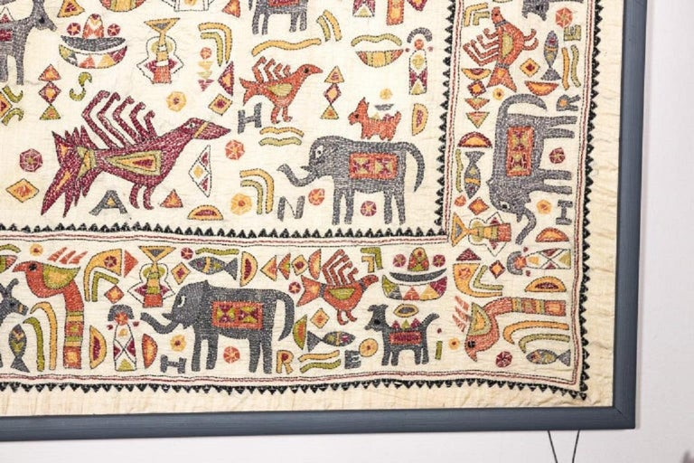 Vintage Mounted African Cloth with Embroidered Animals For Sale 1