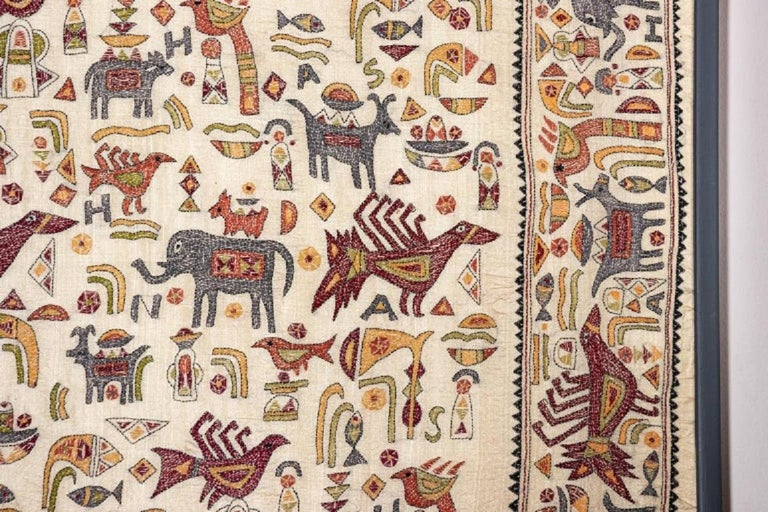 Vintage Mounted African Cloth with Embroidered Animals For Sale 2