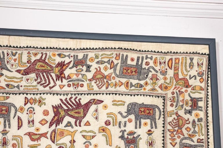 Vintage Mounted African Cloth with Embroidered Animals For Sale 3