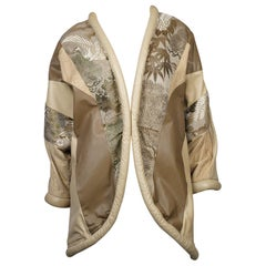 Embroidered and Leather Japanese Style Cocoon Coat