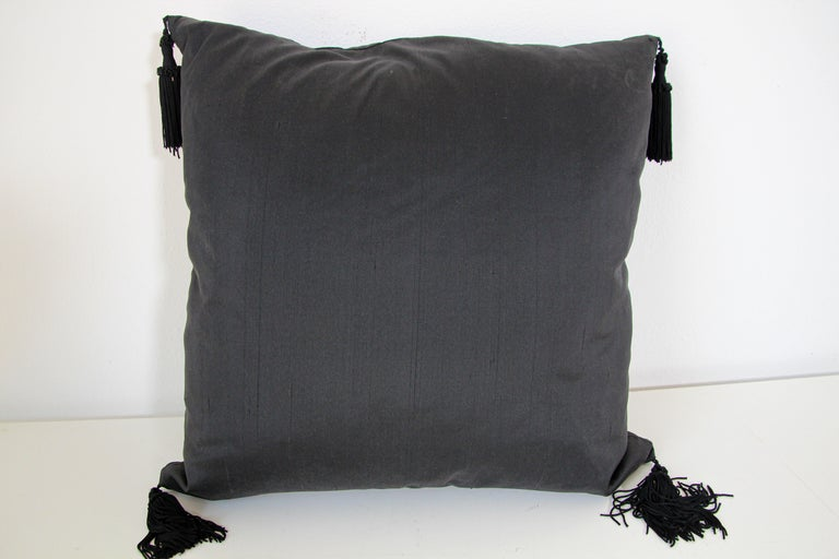 Embroidered Black Silk Decorative Throw Pillow with Tassels For Sale 4