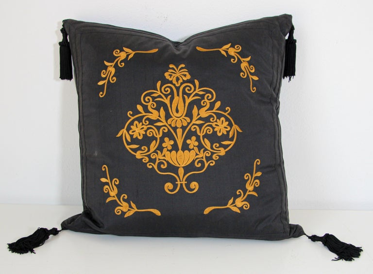 Embroidered Black Silk Decorative Throw Pillow with Tassels For Sale 5