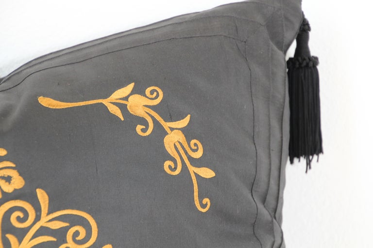 Embroidered Black Silk Decorative Throw Pillow with Tassels For Sale 7