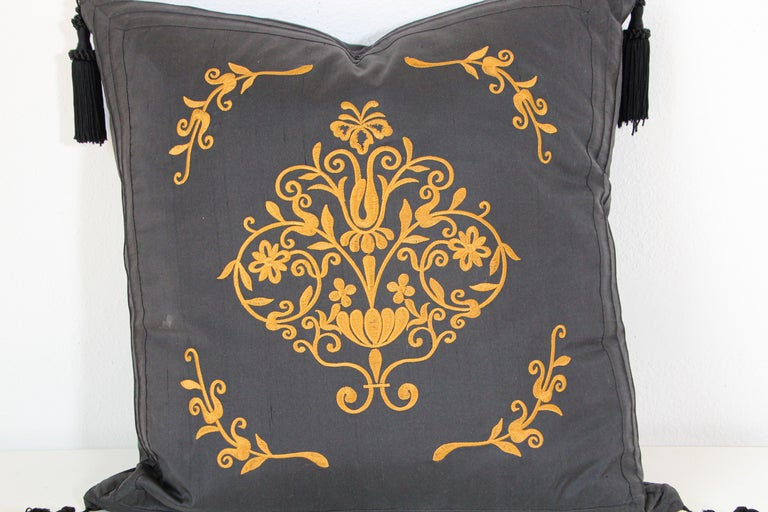Moorish Embroidered Black Silk Decorative Throw Pillow with Tassels For Sale