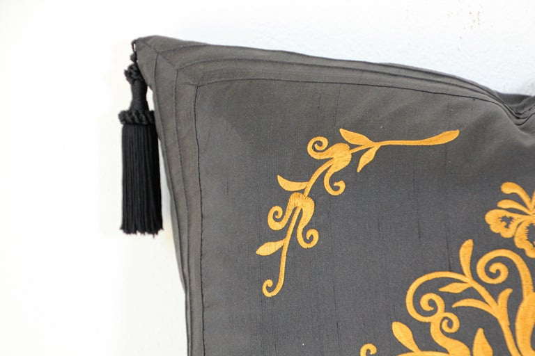 Indian Embroidered Black Silk Decorative Throw Pillow with Tassels For Sale