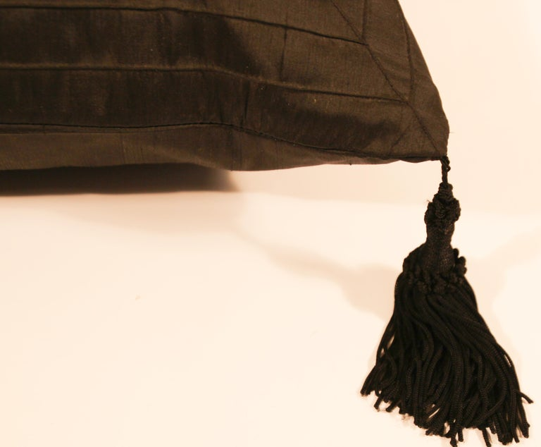 Hand-Crafted Embroidered Black Silk Decorative Throw Pillow with Tassels For Sale