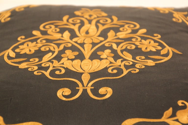 Embroidered Black Silk Decorative Throw Pillow with Tassels In Good Condition For Sale In North Hollywood, CA