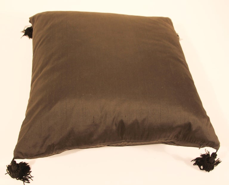 Embroidered Black Silk Decorative Throw Pillow with Tassels For Sale 1