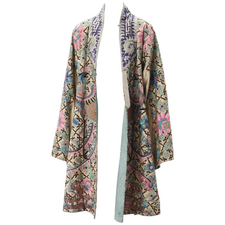 Embroidered Chinese Export Robe, Early 20th Century. For Sale
