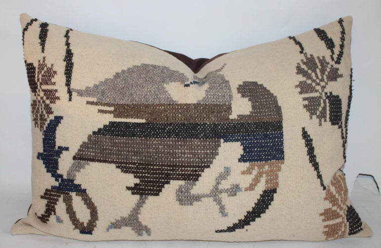 Adirondack Embroidered Eagle Pillow With Linen Backing For Sale