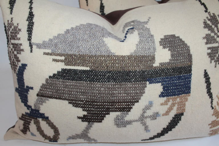 Hand-Crafted Embroidered Eagle Pillow With Linen Backing For Sale
