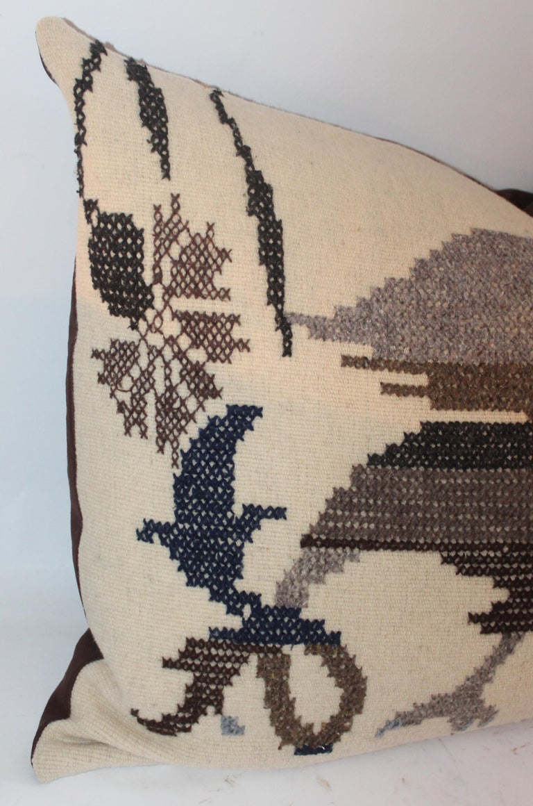 20th Century Embroidered Eagle Pillow With Linen Backing For Sale
