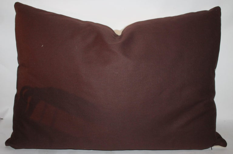 Cotton Embroidered Eagle Pillow With Linen Backing For Sale