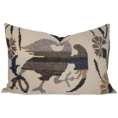 Embroidered Eagle Pillow With Linen Backing