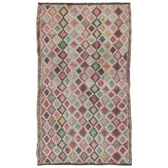 Embroidered Flat-Weave Rug in All Over Diamond Pattern and Multi Colors