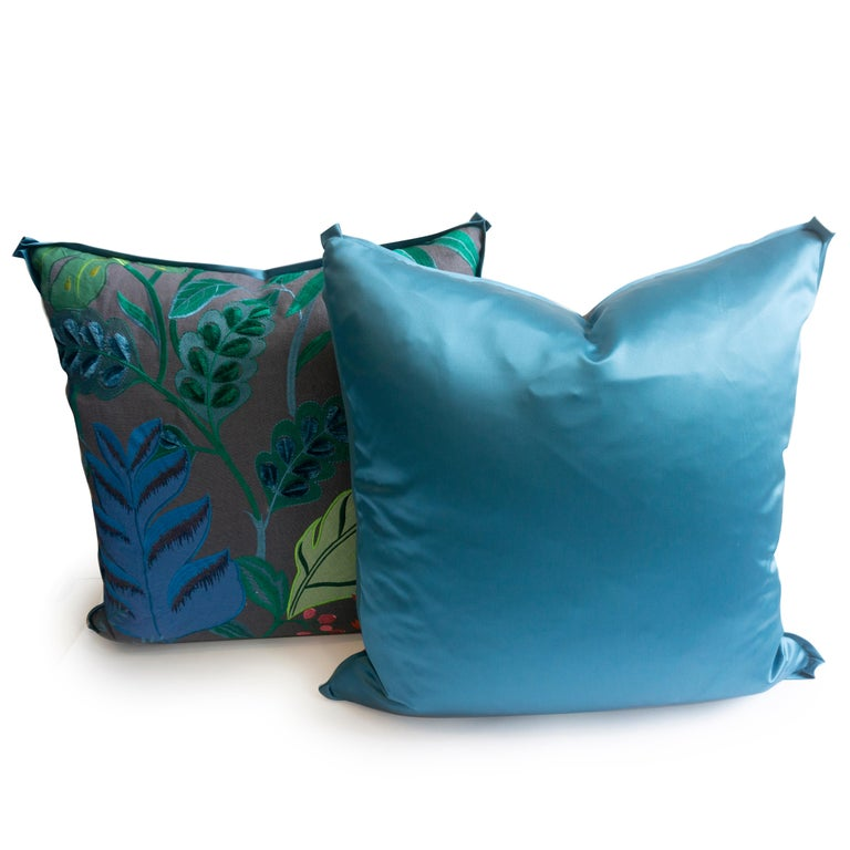 Modern Embroidered Flora Square Pillows For Sale
