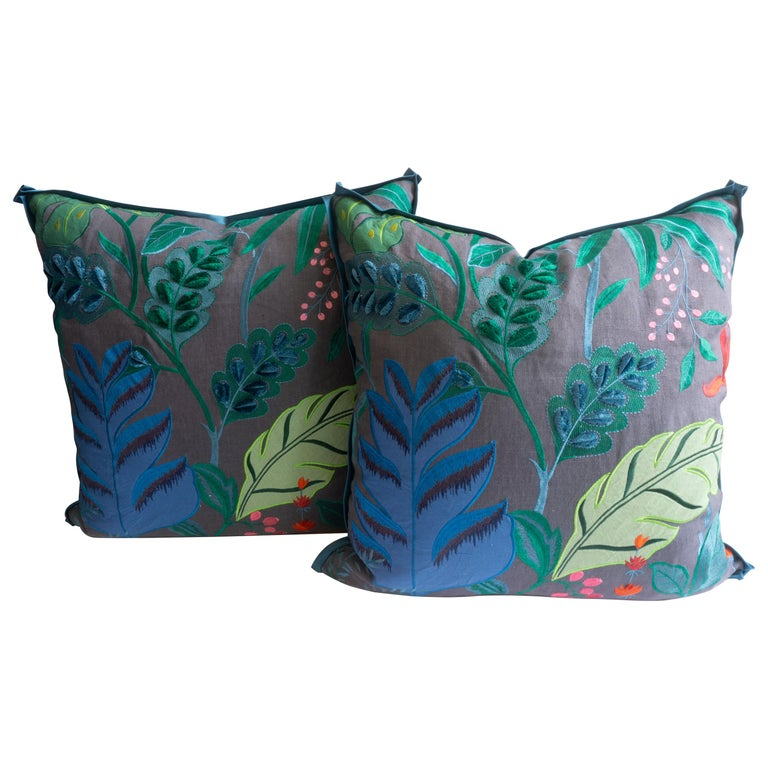 Embroidered Flora Square Pillows For Sale
