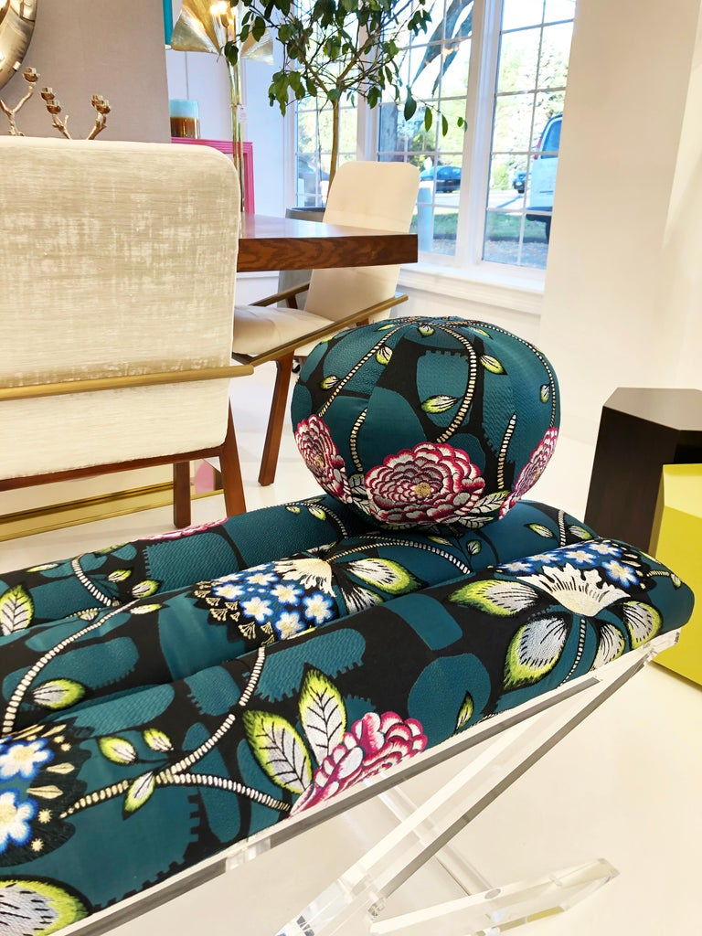 "Our Dahlia ball pillow is made with Christian Lacroix's Les Rosales Bleu Paon. This stunning print features a ""rich and vivid floral pattern in sublime tones with metallic thread highlights."" All pillows are made at our studio in Norwalk,"