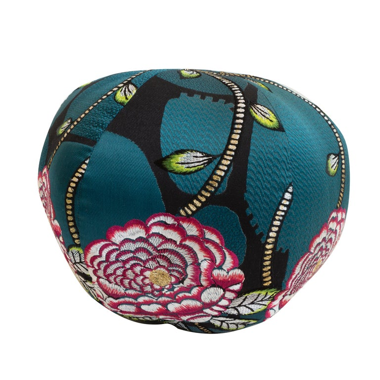 Embroidered Floral Ball Pillow For Sale 1
