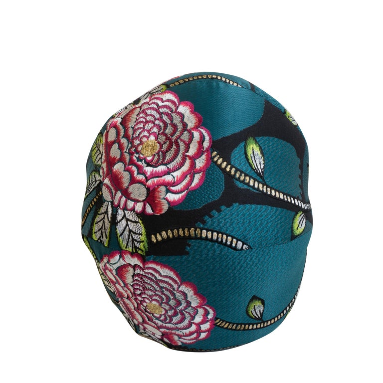 Embroidered Floral Ball Pillow For Sale 2