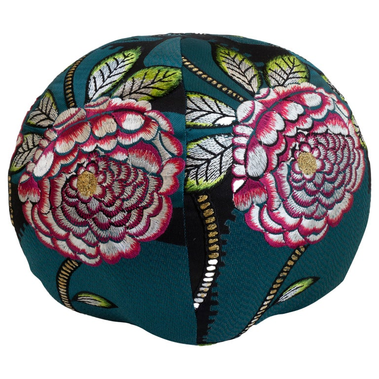Embroidered Floral Ball Pillow For Sale