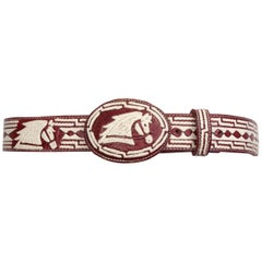 Embroidered Leather - Buckle Belt