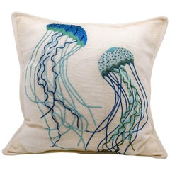 Embroidered Linen Jellyfish Pillow