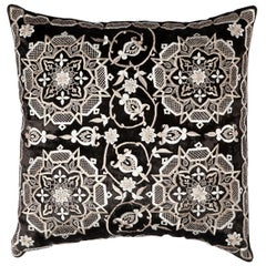 Embroidered Marrakech Black Velour Throw Pillow