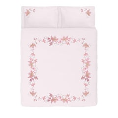 Embroidered Pink Peach Flowers Set of Linens with Duvet Cover