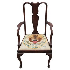 Embroidered Presidential Queen Anne Chair
