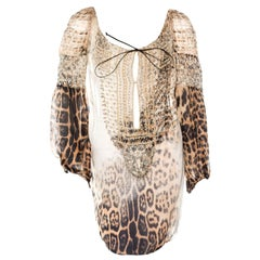 Embroidered Roberto Cavalli Cheetah Lace Up Silk Dress Cover Up Tunic Blouse