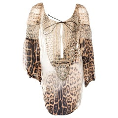 Roberto Cavalli Embroidered  Cheetah Lace Up Silk Dress Cover Up Tunic Blouse
