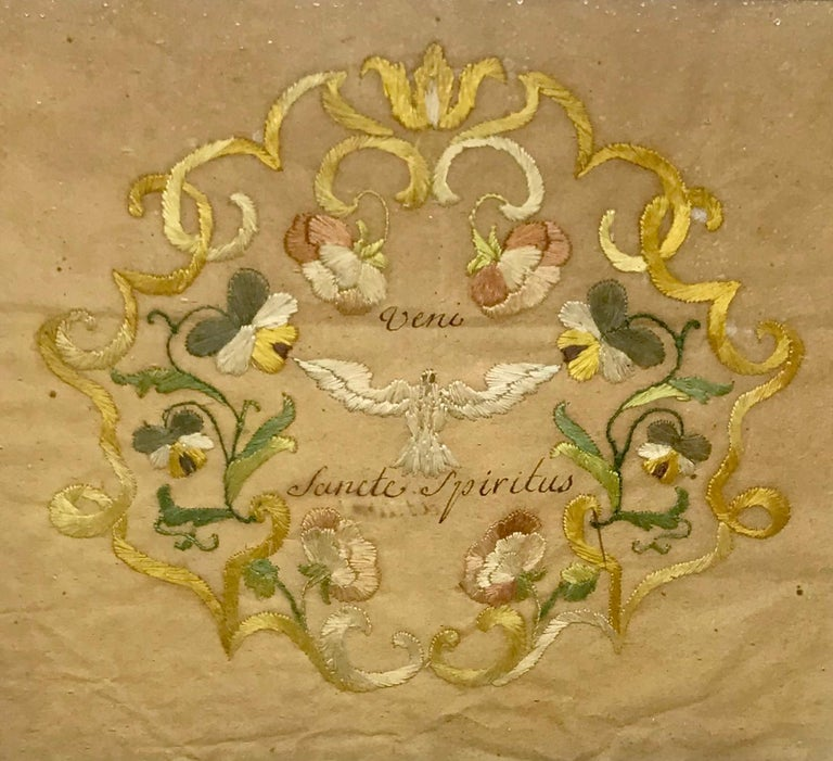 Embroidered Silk Holy Spirit Panel For Sale 1