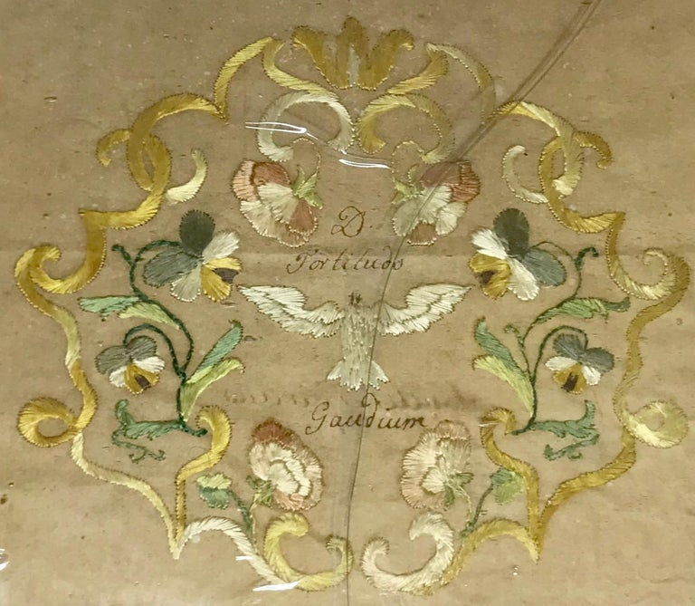18th Century Embroidered Silk Holy Spirit Panel For Sale