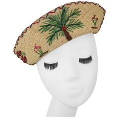 Embroidered Straw Hat With Tropical Motif, 1950's