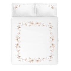 Embroidered White Peach Flowers Set of Linens with Duvet Cover