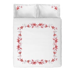 Embroidered White Peach Flowers Set of Linens with Duvet Cover in Linen