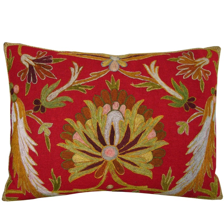 Embroidery Indian Pillow, circa 1800 1545p For Sale